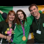 31 August 2012; Ireland's Bethany Firth, from Seaforde, Co. Down, along with her mother Lindsey and father Peter, celebrates with her gold medal after winning the women's 100m backstroke - S14. London 2012 Paralympic Games, Swimming, Aquatics Centre, Olympic Park, Stratford, London, England. Picture credit: Brian Lawless / SPORTSFILE