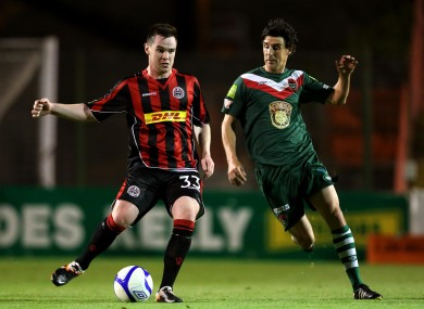 Bohs' Michael Barker and Vinny Sullivan of Cork.