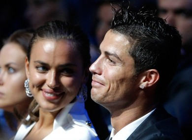  Cristiano Ronaldo , right, is seen with his girlfriend, Russian top model Irina Shayk.