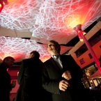 Dermot McLaughlin, chief executive of Temple Bar Cultural Trust looking up at the canopies illuminated at night on 15 December last year. Image:Leon Farrell/Photocall Ireland.