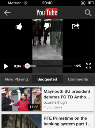 A screengrab of the video player in the new YouTube app