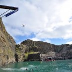 A competitor during the Red Bull Cliff Diving at Blue Lagoon in Pembrokeshire, Wales. Tim Ireland/Press Association Images