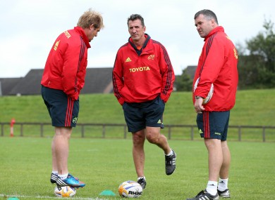 Three wise men: Backs coach Simon Mannix, head coach Rob Penney and forwards coach Anthony Foley at Munster training in University of Limerick this morning.
