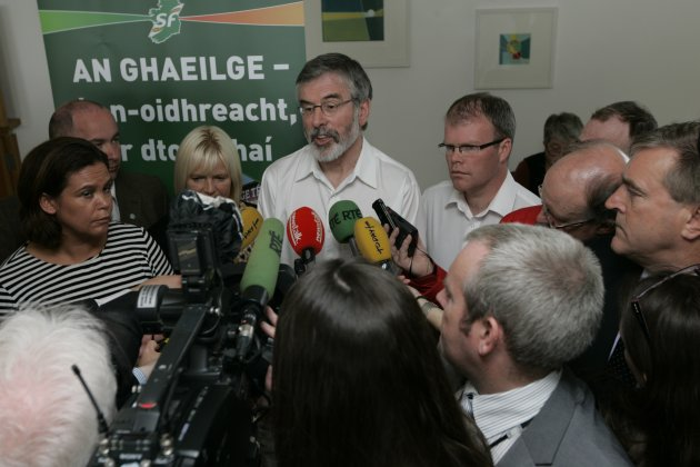 Sinn Fein President Gerry Adams, speaking to the m