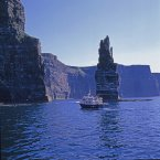 The view from a boat at the foot of a sea stack at the Cliffs of Moher. Image: Roger Kinkead/Tourism Ireland.