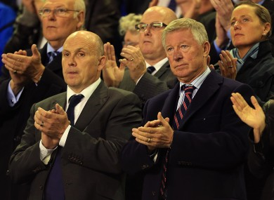 Manchester United manager Alex Ferguson (right) and assistant manager Mike Phelan (left) in the stands at Goodison Park during Everton's Hillsborough tribute.