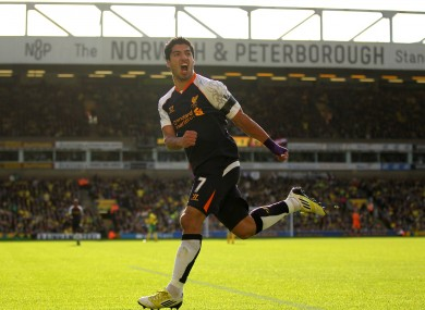 Suarez celebrates his second goal this afternoon.