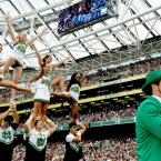 Fighting Irish cheerleaders... and a leprechaun. INPHO/James Crombie