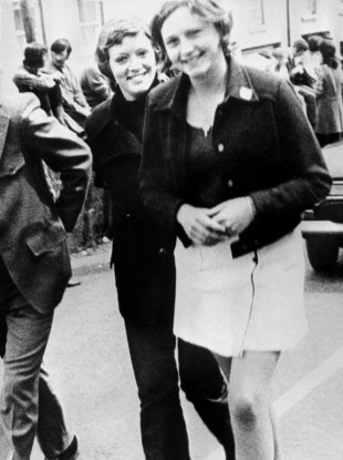 Dolours Price (left) and her sister Marian, at a civil rights demonstration outside Belfast in 1972.