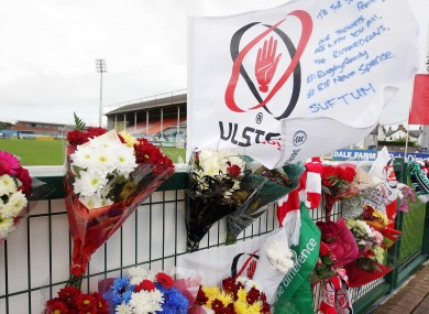 Tributes to Nevin Spence, 22, placed at Ulster's Ravenhill ground on Monday.