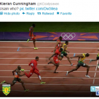 Donegal's Karl Lacey has a couple of yards on the world's fastest man.