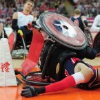 Wheelchair rugby athletes in action.