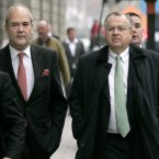 IBRC's Richard Woodhouse and CEO Mike Aynsley arrive at the High Court. (Photo: Mark Stedman/Photocall Ireland)