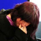 April's mother Coral breaks down during a press conference at Aberystwyth. Image: Rui Vieira/PA Wire