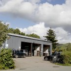 The garage where the Land Rover belonging to Mark Bridger was found in Machynlleth. Image: Peter Byrne/PA Wire
