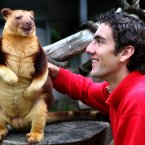 Croatian tennis player Marin Cilic meets Timmy the tree kangaroo during a visit to Royal Melbourne Zoo during the Australian Open. (AP Photo/Pool)