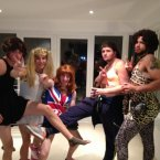 As Baby Spice, second left, and Ginger Spice, centre, respectively.