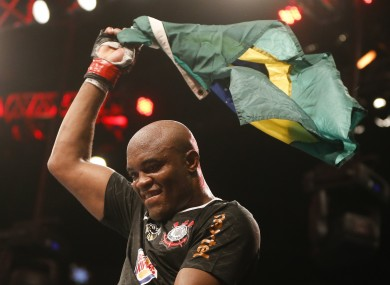 Anderson Silva, from Brazil, celebrates after defeating Stephan Bonnar.