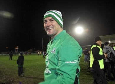 Eric Elwood celebrates after Connacht beat Harlequins in January.