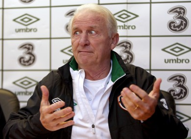 Giovanni Trapattoni at yesterday's press conference.