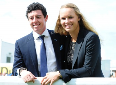 Caroline Wozniacki and golfer Rory McIlroy. File photo.