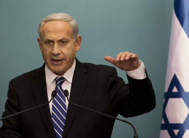Israeli Prime Minister Benjamin Netanyahu speaking at a press conference in Jerusalem yesterday.