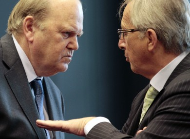 Michael Noonan talks with Luxembourg's Prime Minister and President of the Eurogroup Jean-Claude Juncker