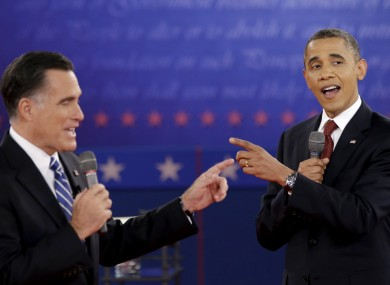 Mitt Romney and President Barack Obama during the second presidential debate earlier this month.