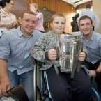 Richie Hogan and Paul Murphy with 10-year-old Nathan O'Hagan-Doyle from Bray.