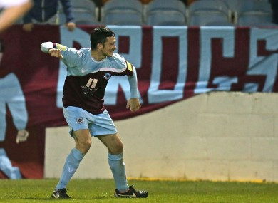 Drogheda United's Ryan Brennan celebrates scoring their second goal.