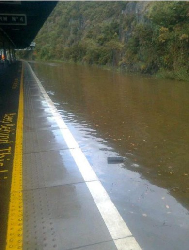 Waterford train station is flooded… very flooded