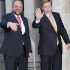(LtoR) President of the European Parliament, Martin Schulz and Taoiseach Enda Kenny pictured at Dublin Castle prior to a meeting to discuss the priorities of the Irish EU Presidency beginning in the new year. 
