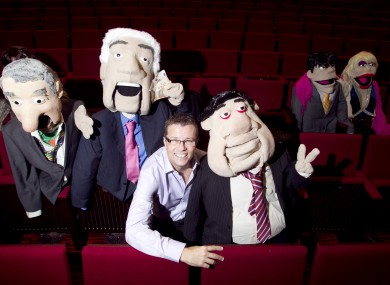 Paul Howard aka Ross O Carroll Kelly, poses with puppets: Bertie Ahern (left) Seanie Fitzpatrick (second on left) and Brian Cowen (third on right)