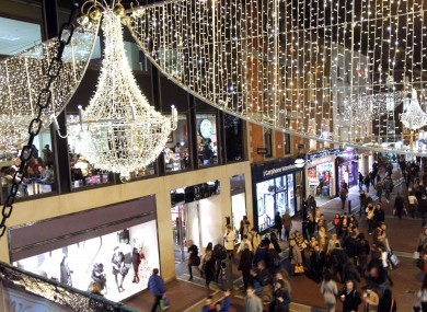 Christmas lights on Grafton Street in Dublin