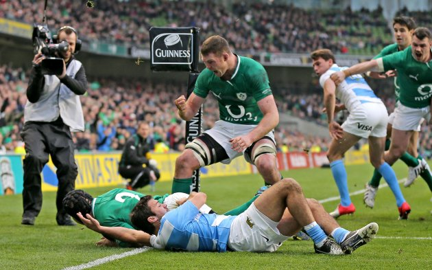 Donnacha Ryan celebrates with Richardt Strauss following his try 24/11/2012