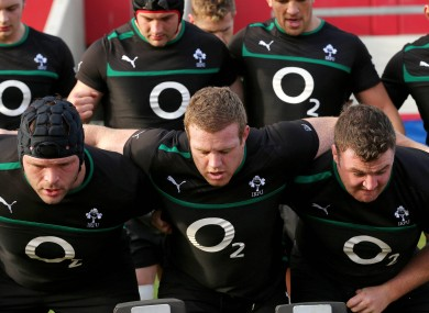 Ireland's front row of Mike Ross, Sean Cronin and David Kilcoyne during scrummaging training today.