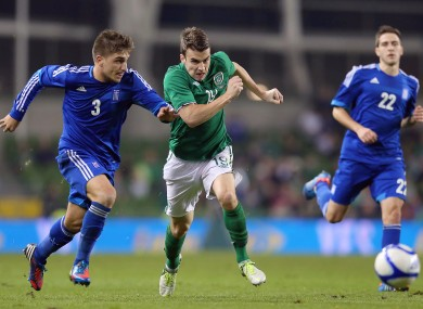Ireland's Seamus Coleman and Kostas Stafylidis of Greece
