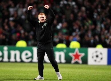 Celtic boss Neil Lennon celebrates defeating Barcelona.