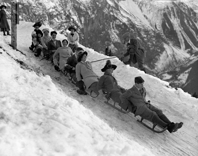 Tobogganing in Murren