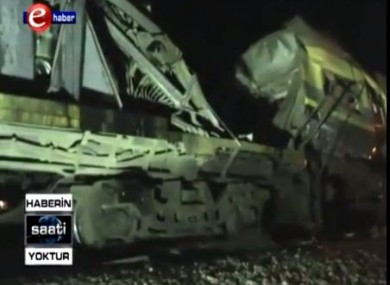 A still from Egyptian television shows the train after the crash