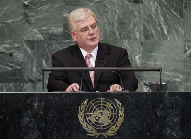 Eamon Gilmore speaking at the UN in September