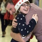 Christmas Arrivals Dublin Airport. Philip Guildea is welcomed home for Christmas by his 12-year-old sister Ali today at Dublin Airport. Philip has been working in Melbourne as a carpenter for two years. Photo: Mark Stedman/Photocall Ireland