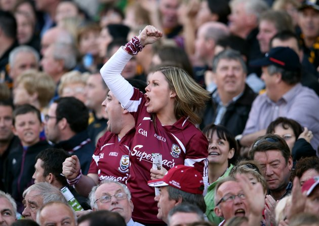 A Galway supporter celebrates a score 30/9/2012