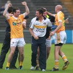 It's a big victory for Antrim in Casement Park. Galway come to town but are overturned by a point, which leads to the joyous reactions from Antrim player Conor Murray and backroom team member Gearoid Adams. (Russell Pritchard/Presseye).