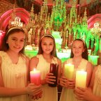 Light bearers Ali Kenny (age 13), Sophia Rocca (age 13), Caoimhe Brennan (age 12) and Rachel Young (age 13) at the Christmas Celebration of Light organised by national suicide prevention and bereavement charity Console. 