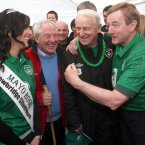 Words pale in comparison to the beauty of this photo opp as Ring, Taoiseach Enda Kenny and Trap all go for a walk up Croagh Patrick before Euro 2012. ©INPHO/Donall Farmer