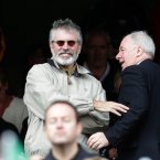 Minister Ring and Gerry Adams TD have some banter at this year's All-Ireland Football Final between Donegal and Mayo. ©INPHO/Morgan Treacy