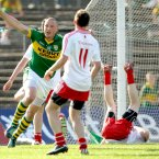 Shining star. Kieran Donaghy celebrates a score as Kerry lay their Tyrone hoodoo to rest in Fitzgerald Stadium. (INPHO/James Crombie).