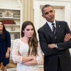 There were rocky roads and fiscal cliffs...but he managed to fend off the challenge from Mitt Romney to secure another four years in office. US gymnast McKayla Maroney was impressed, despite what her face says. (Image: Pete Souza/White House)
