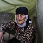 26 August: Fatimah Ali, an elderly Syrian who fled her home in Aleppo with her family due to fighting between the rebels and the Syrian army rests at a desk in a school where she and her family took refuge, in Suran, Syria. (AP Photo/Muhammed Muheisen)